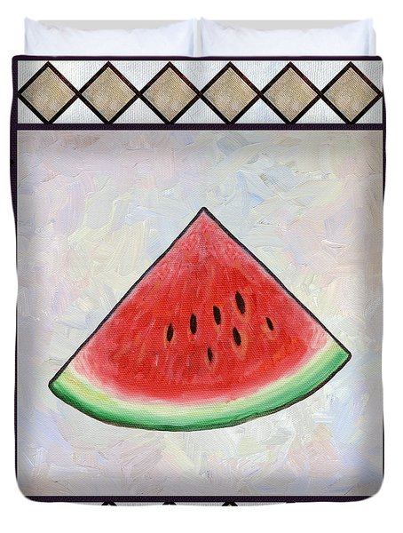Water Melon Slice Duvet Cover by Linda Mears