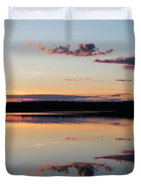 Water Mimics Sky As The Day Fades Duvet Cover