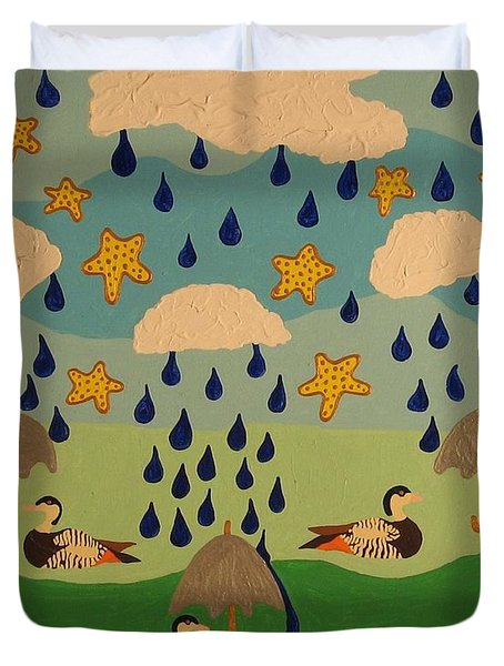 Duvet Cover featuring the painting Water Off A Duck's Umbrella by Erika Chamberlin