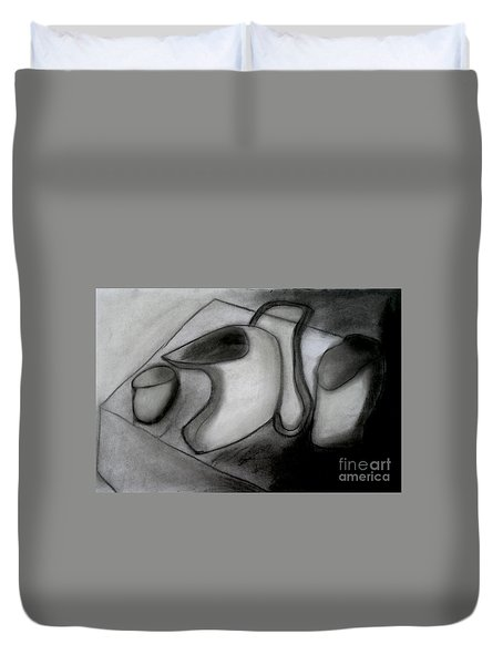 Water Pitcher And Cups Duvet Cover