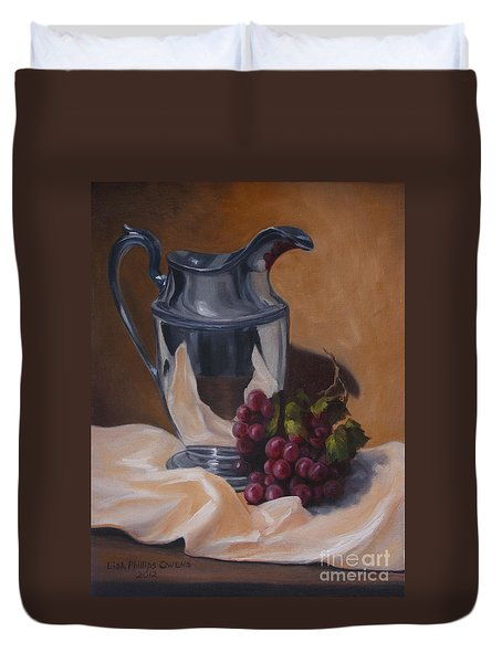 Water Pitcher With Fruit Duvet Cover by Lisa Phillips Owens