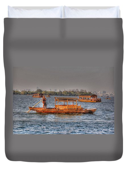 Water Taxi In China Duvet Cover