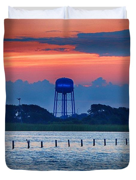 Duvet Cover featuring the digital art Water Tower by Michael Thomas