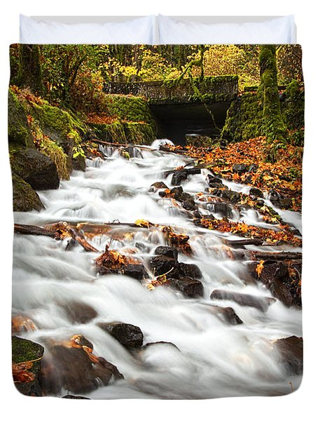 Water Under The Bridge Duvet Cover by Mike  Dawson