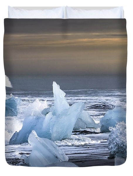 Duvet Cover featuring the photograph Water Versus Ice by Gunnar Orn Arnason