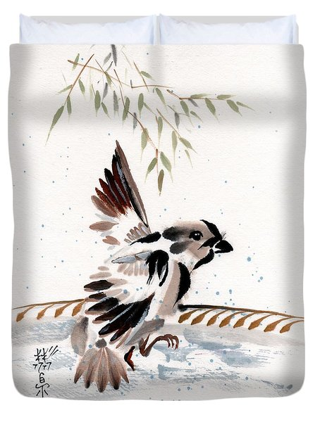 Duvet Cover featuring the painting Water Wings by Bill Searle