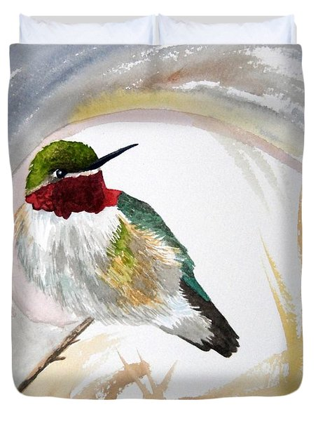 Watercolor - Broad-tailed Hummingbird Duvet Cover
