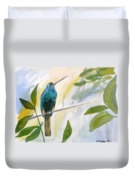 Watercolor - Jacamar In The Rainforest Duvet Cover