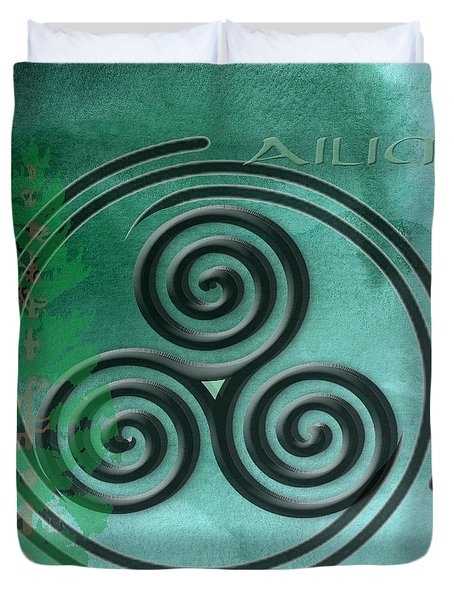 Watercolor Ailim Symbol Duvet Cover by Kandy Hurley