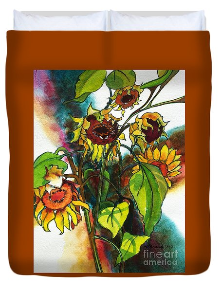 Sunflowers On The Rise Duvet Cover by Kathy Braud