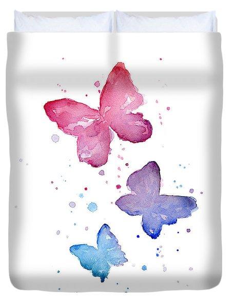 Watercolor Butterflies Duvet Cover by Olga Shvartsur