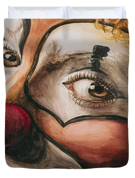Watercolor Clown #1 Duvet Cover