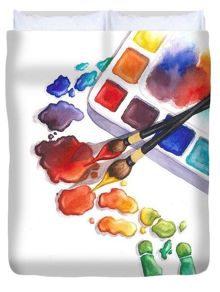 Watercolor Footprints Duvet Cover
