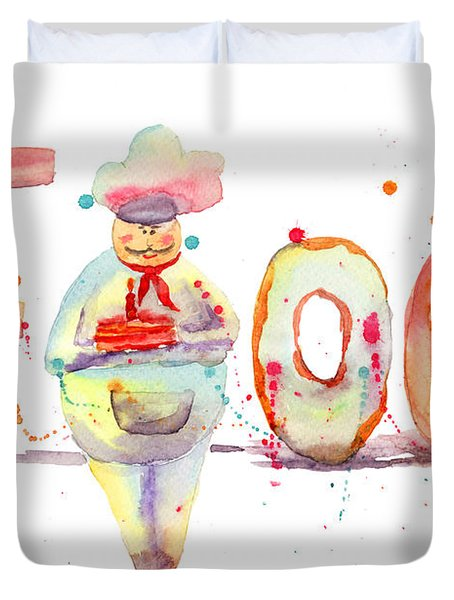 Watercolor Illustration Of Inscription Food With Chef  Duvet Cover by Regina Jershova