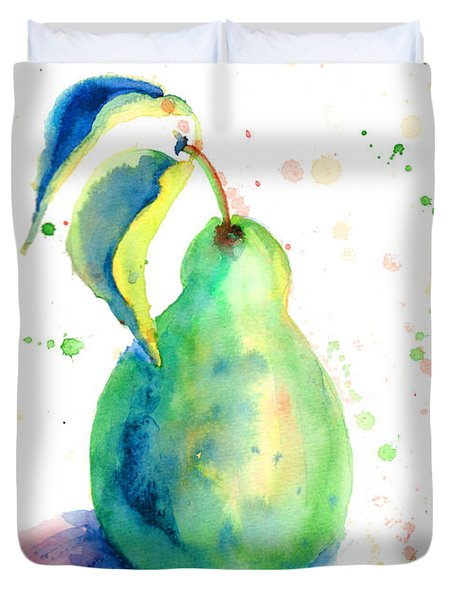 Watercolor Illustration Of Pear  Duvet Cover