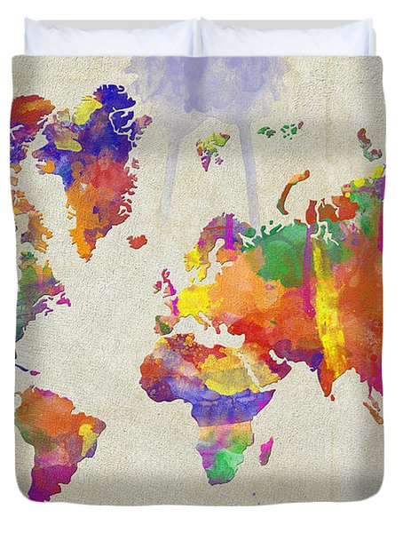 Watercolor Impression World Map Duvet Cover