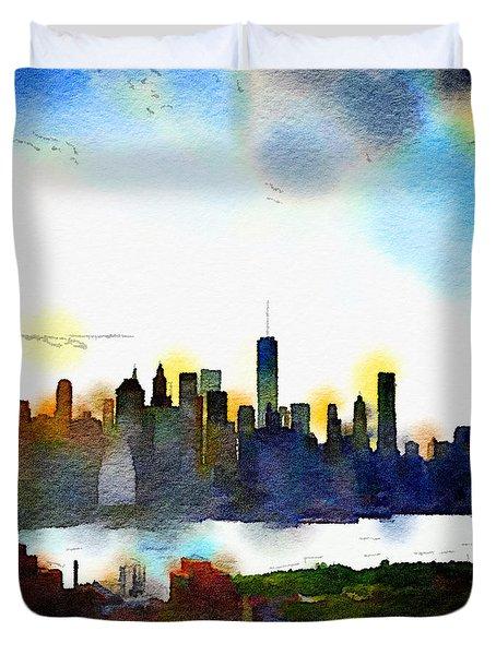 Watercolor Manhattan Duvet Cover
