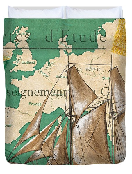 Watercolor Map 1 Duvet Cover by Debbie DeWitt