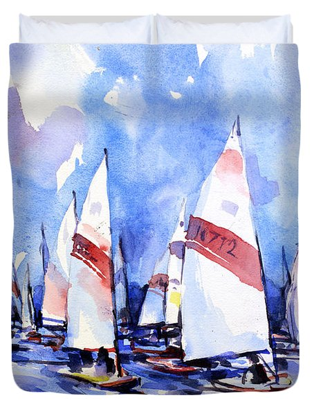 Watercolor Of Scow Boats Racing Torch Lake Mi Duvet Cover