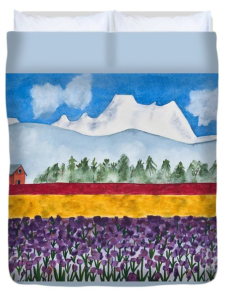 Watercolor Painting Landscape Of Skagit Valley Tulip Fields Art Duvet Cover