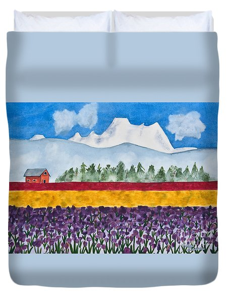 Watercolor Painting Landscape Of Skagit Valley Tulip Fields Art Duvet Cover
