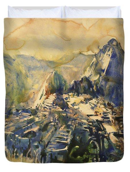 Watercolor Painting Machu Picchu Peru Duvet Cover by Ryan Fox