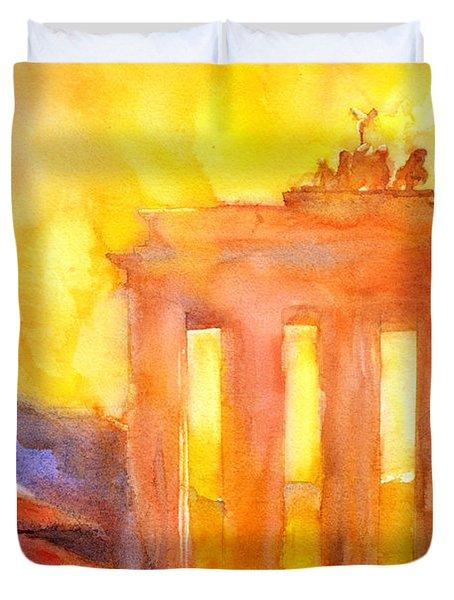 Watercolor Painting Of Brandenburg Gate Berlin Germany Duvet Cover by Ryan Fox