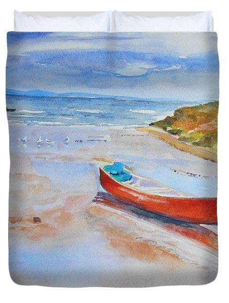 Watercolor Painting Of Red Boat Duvet Cover