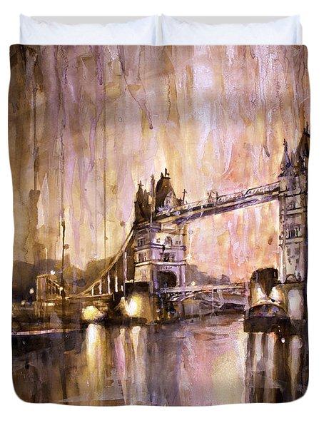 Watercolor Painting Of Tower Bridge London England Duvet Cover by Ryan Fox