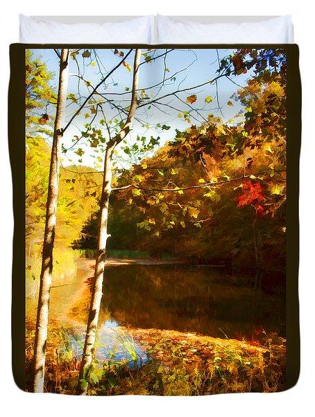 Watercolor Pond Duvet Cover