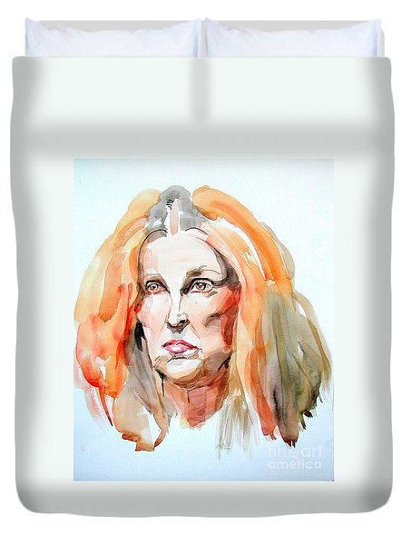 Duvet Cover featuring the painting Watercolor Portrait Of A Mad Redhead by Greta Corens