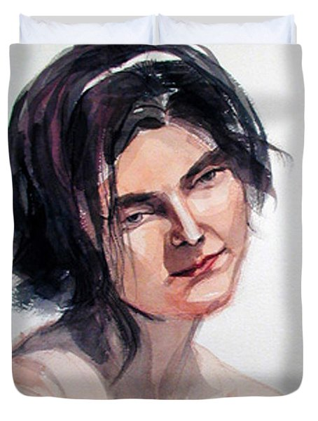 Watercolor Portrait Of A Young Pensive Woman With Headband Duvet Cover