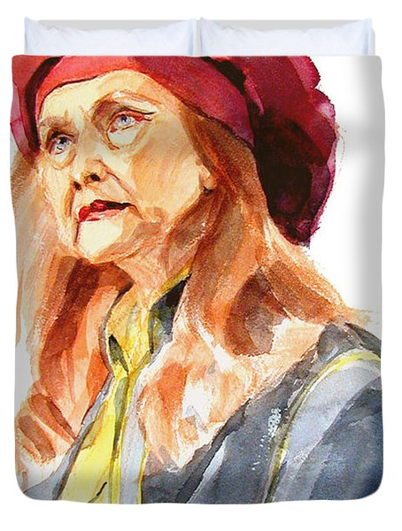 Watercolor Portrait Of An Old Lady Duvet Cover