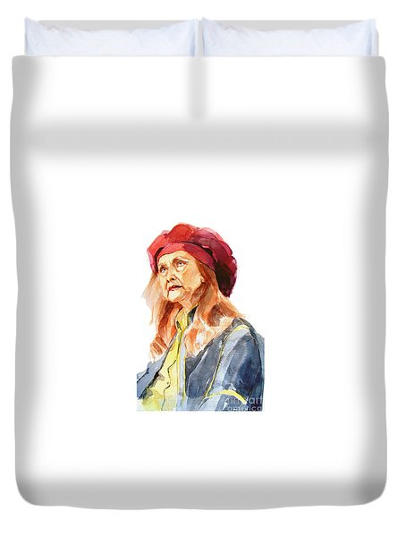 Duvet Cover featuring the painting Watercolor Portrait Of An Old Lady by Greta Corens
