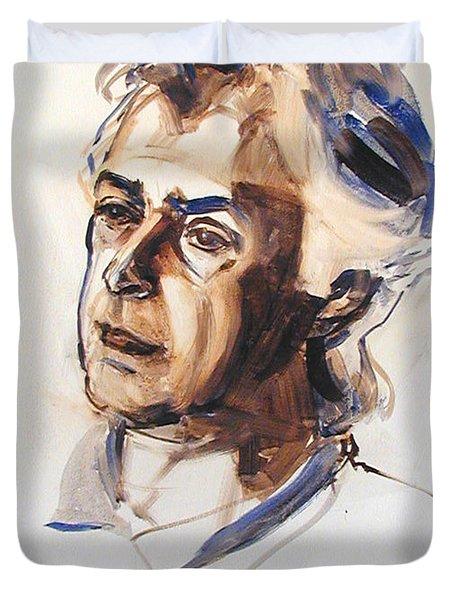 Watercolor Portrait Sketch Of A Man In Monochrome Duvet Cover