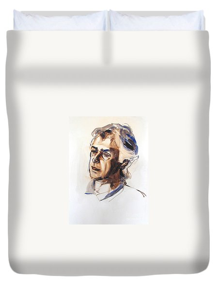 Duvet Cover featuring the painting Watercolor Portrait Sketch Of A Man In Monochrome by Greta Corens
