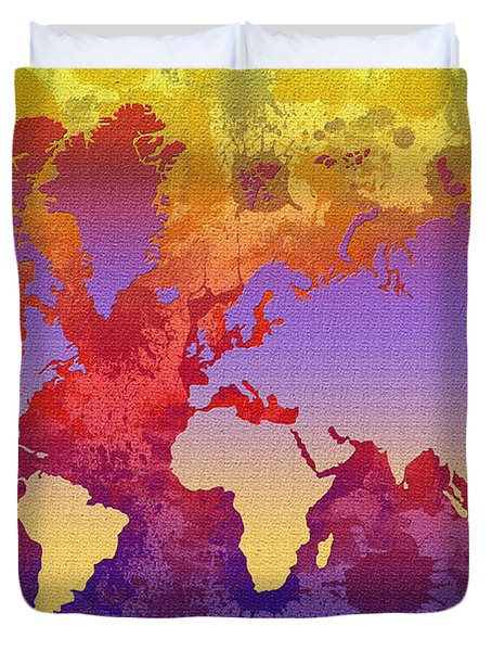 Watercolor Splashes World Map On Canvas Duvet Cover by Zaira Dzhaubaeva