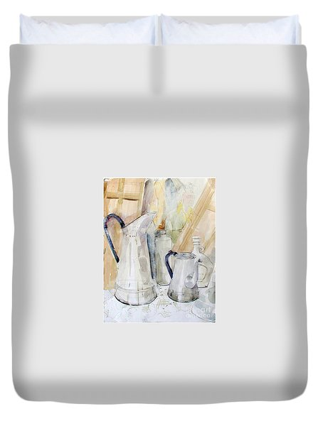 Watercolor Still Life Of White Cans Duvet Cover