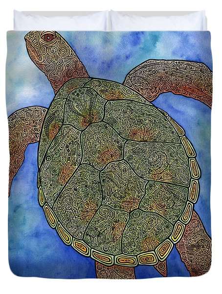 Watercolor Tribal Turtle  Duvet Cover