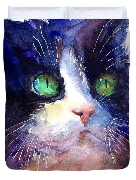 Watercolor Tuxedo Tubby Cat Duvet Cover