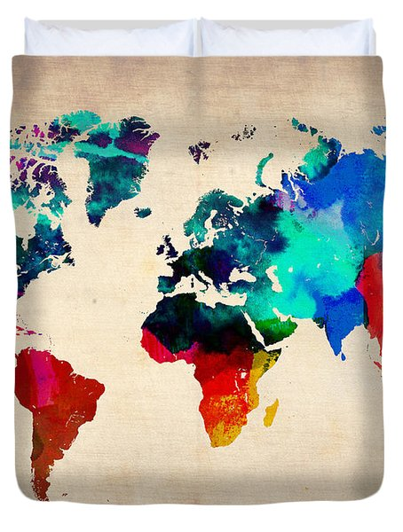Watercolor World Map 3 Duvet Cover by Naxart Studio