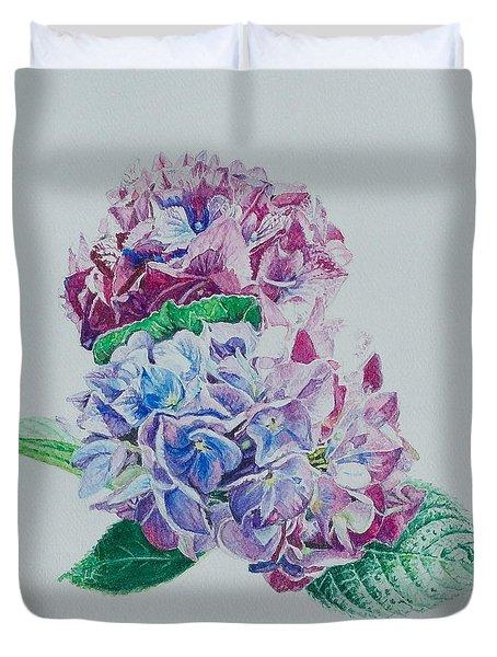 Watercolored Hydrangea Duvet Cover