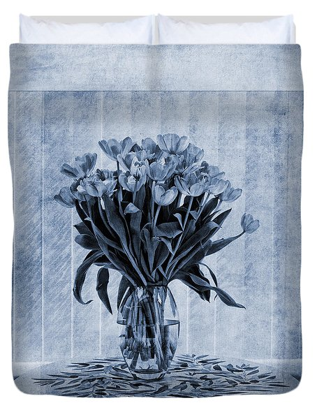 Watercolour Tulips In Blue Duvet Cover by John Edwards