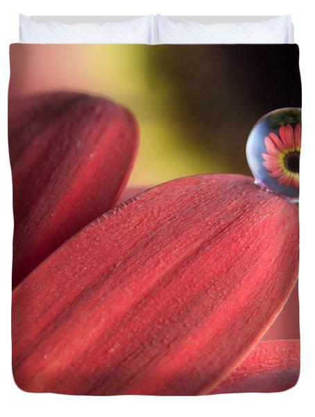 Waterdrop On Flower Petal Duvet Cover