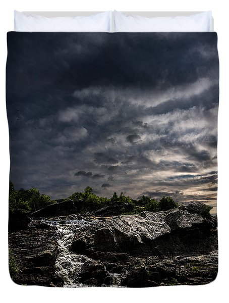 Waterfall At Sunrise Duvet Cover by Bob Orsillo