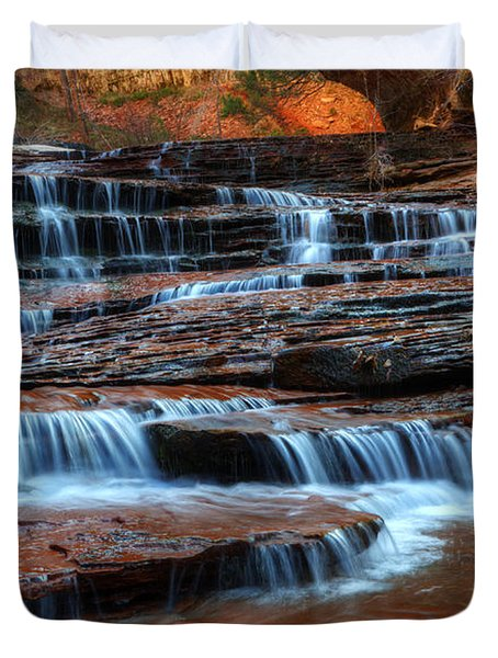 Waterfall Cascade North Creek Duvet Cover by Bob Christopher