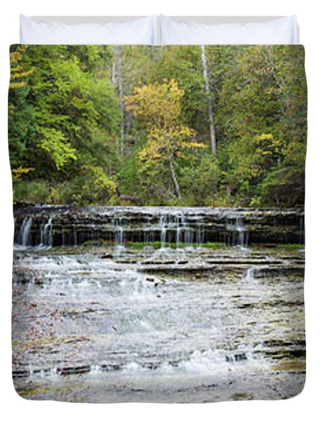 Waterfall In A Forest, Au Train Falls Duvet Cover