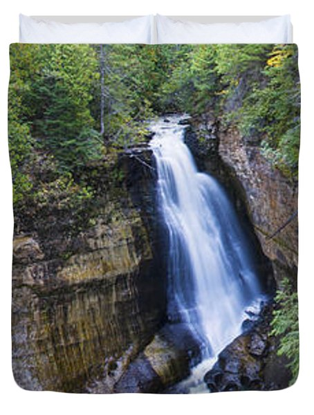 Waterfall In A Forest, Miners Falls Duvet Cover