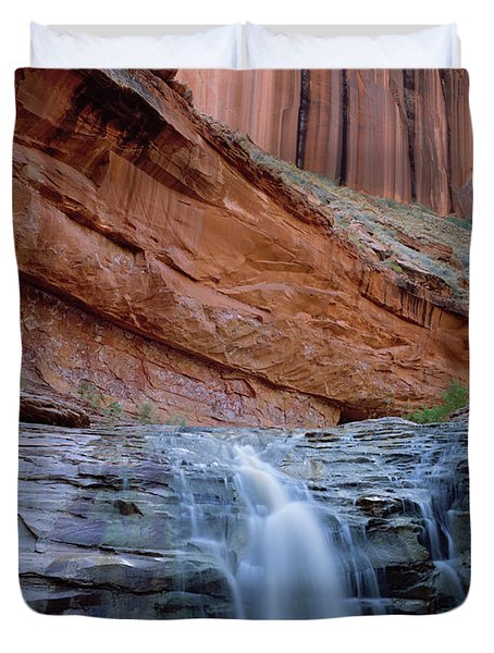 Waterfall In Coyote Gulch Duvet Cover