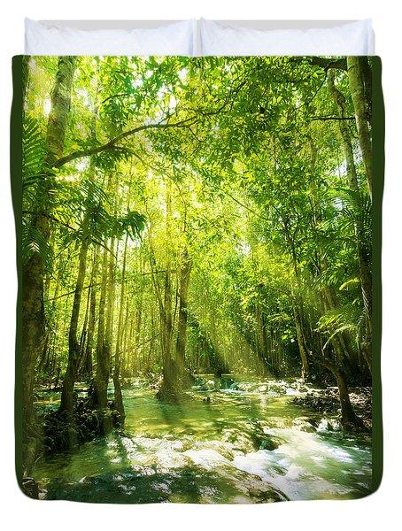 Waterfall In Rainforest Duvet Cover by Atiketta Sangasaeng